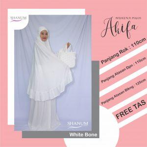jual mukena akifa white bone